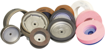 Mole a tazza metalliche, resinoidi e feltri per bisellatrici