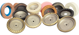 Metal and resin bond cup-wheels, arris wheels, polishing wheels for straight-line edging and double edging machines